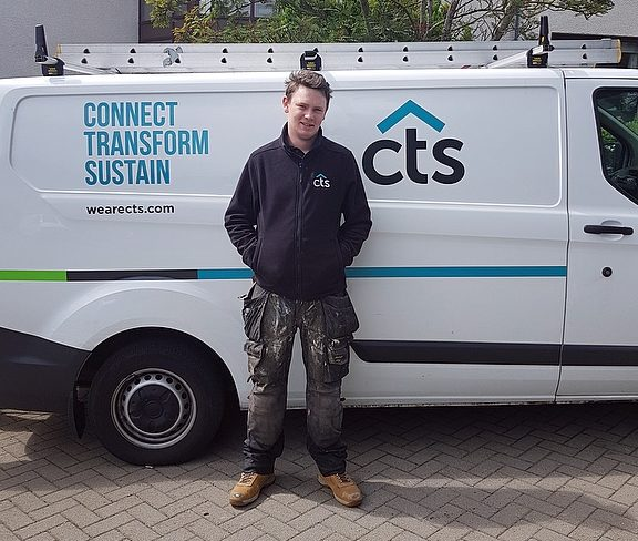 c=CTS apprentice pictured beside CTS van